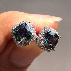 NEW 925 Sterling Silver Stud Rainbow Earrings
